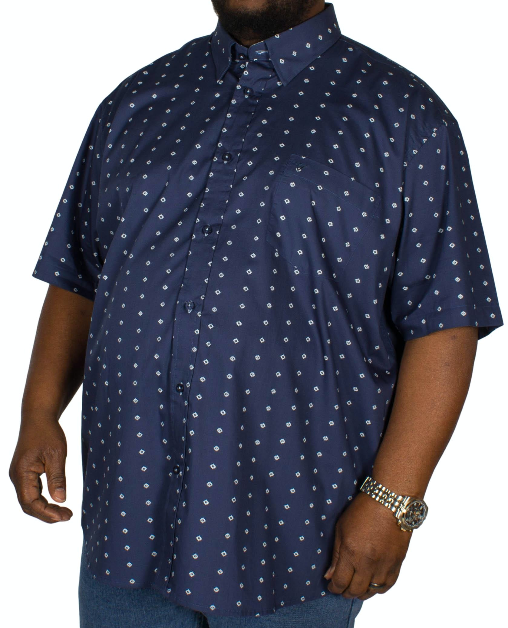 Cotton Valley All-over Print Short Sleeve Shirt Navy