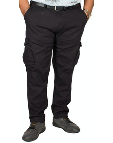 D555 Nelson Tapered Fit Cargo Trousers Black