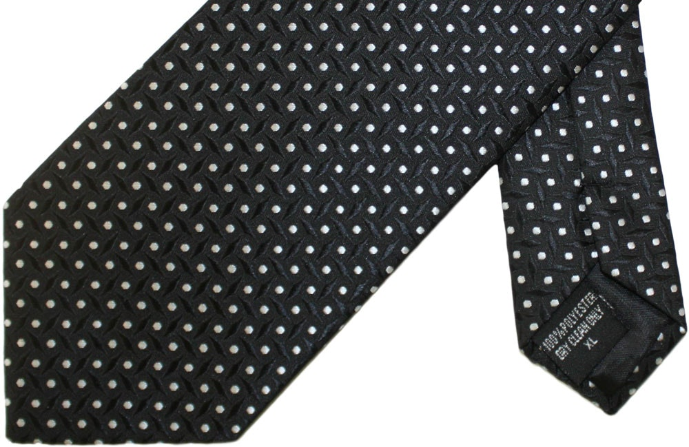 Knightsbridge Extra Long Polka Dot Squares Tie Black