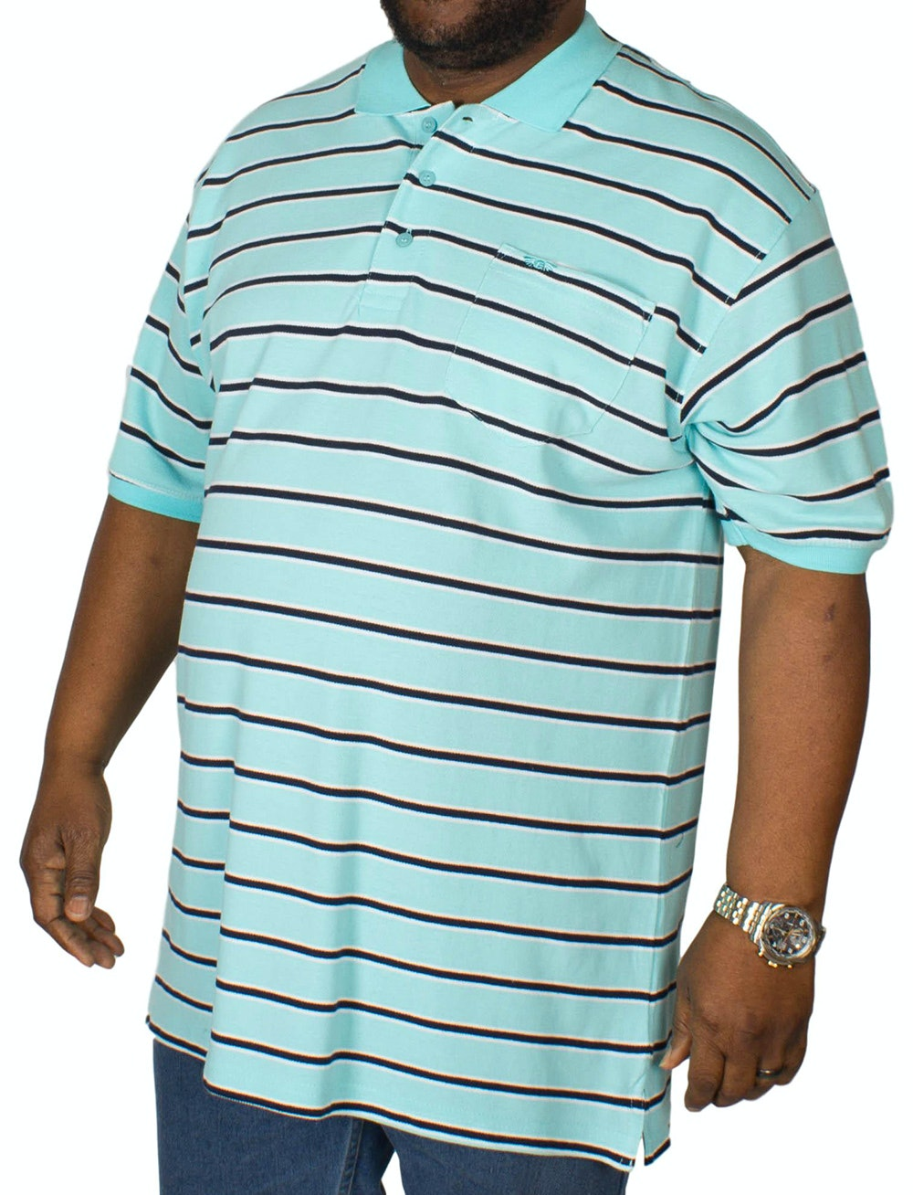 KAM Forge Stripe Polo Shirt Turquoise