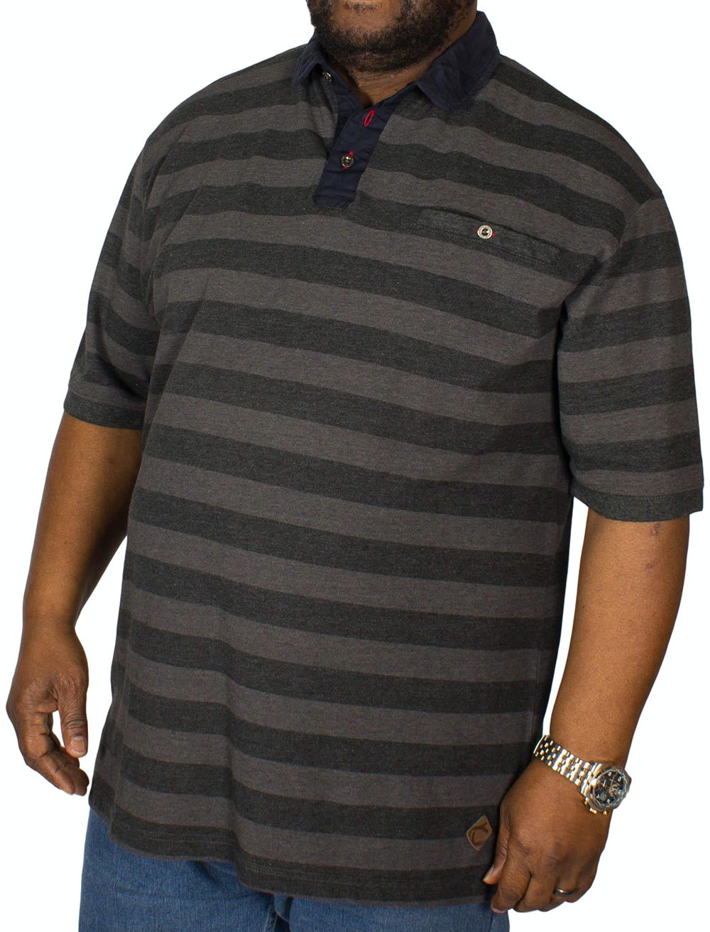 KAM Corduroy Trim Collar Polo Charcoal