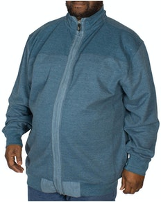 KAM Full Zip Canvas Sweater Denim