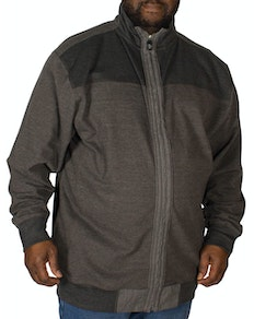 KAM Full Zip Canvas Sweater Charcoal