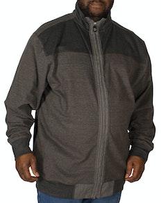 KAM Full Zip Canvas Sweater Charcoal