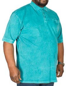 KAM Acid Wash Polo Shirt Teal