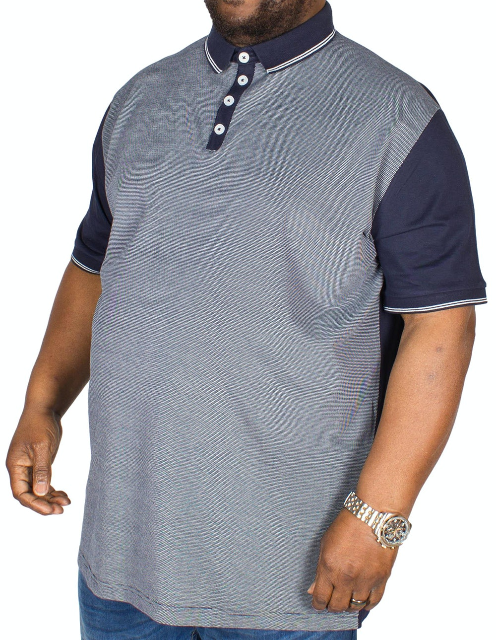 D555 Cecil Jaquard Polo Navy