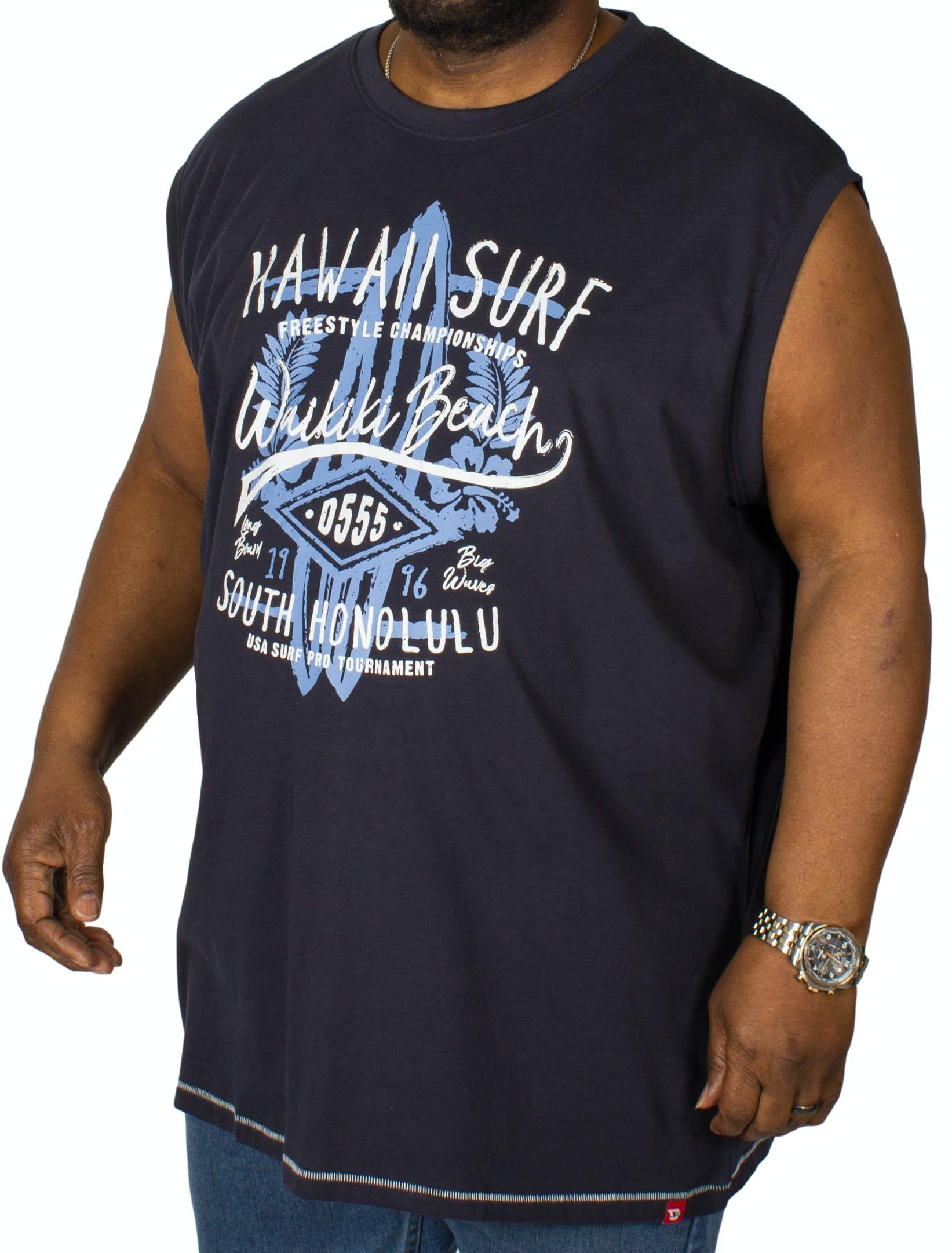 D555 Aloha Printed Sleeveless T-Shirt Navy