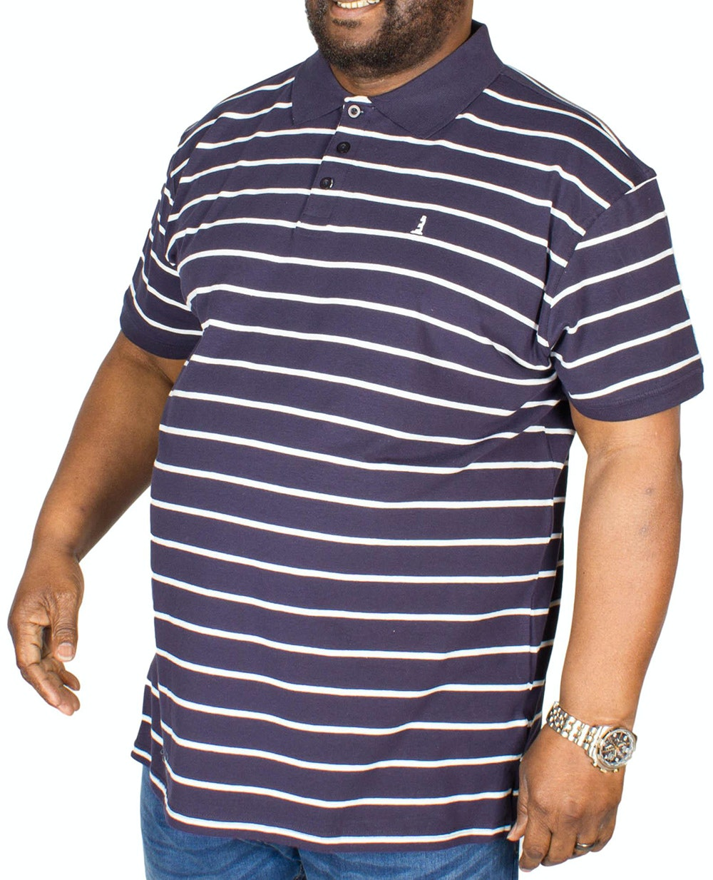 Replika Striped Jersey Polo Shirt Navy