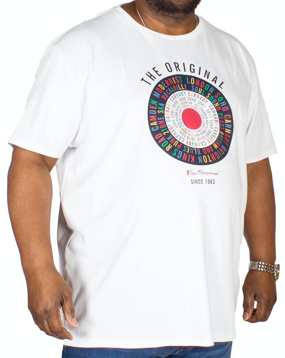 Ben Sherman Text Target Print T-Shirt White