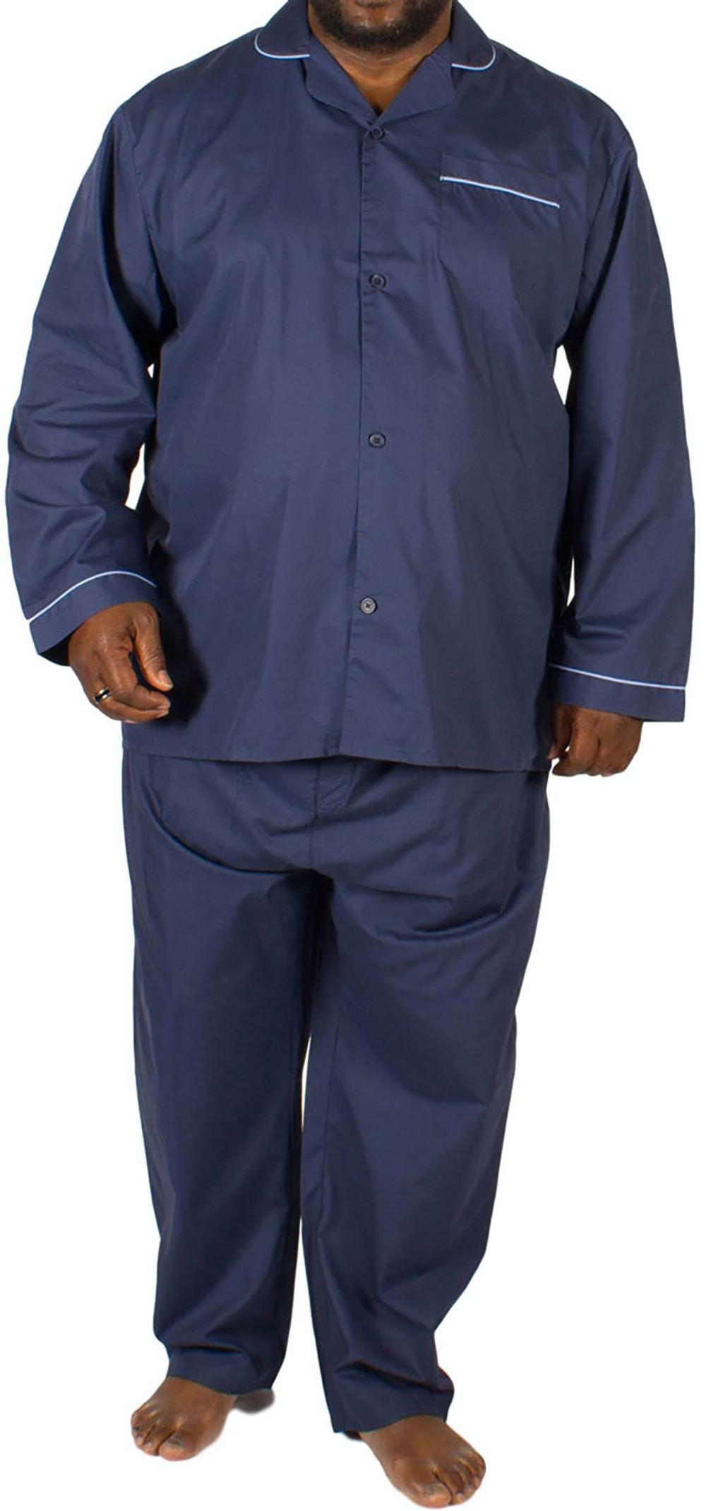 KAM Classic Woven Pyjama Set Navy