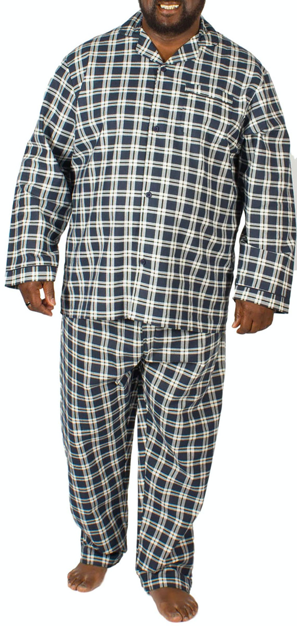 KAM Flannel Check Pyjama Set Navy