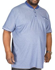 D555 Owen Granddad Collar Polo Shirt Blue