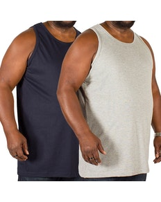 Bigdude Plain Vest Twin Pack Navy/Grey