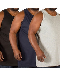 Bigdude Plain Vest Triple Pack Black/Grey/Navy