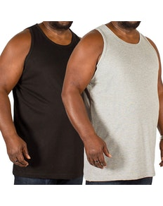 Bigdude Plain Vest Twin Pack Black/Grey