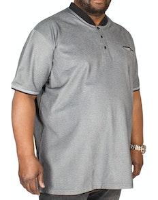 D555 Owen Granddad Collar Polo Shirt Black