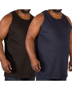 Bigdude Plain Vest Twin Pack Black/Navy