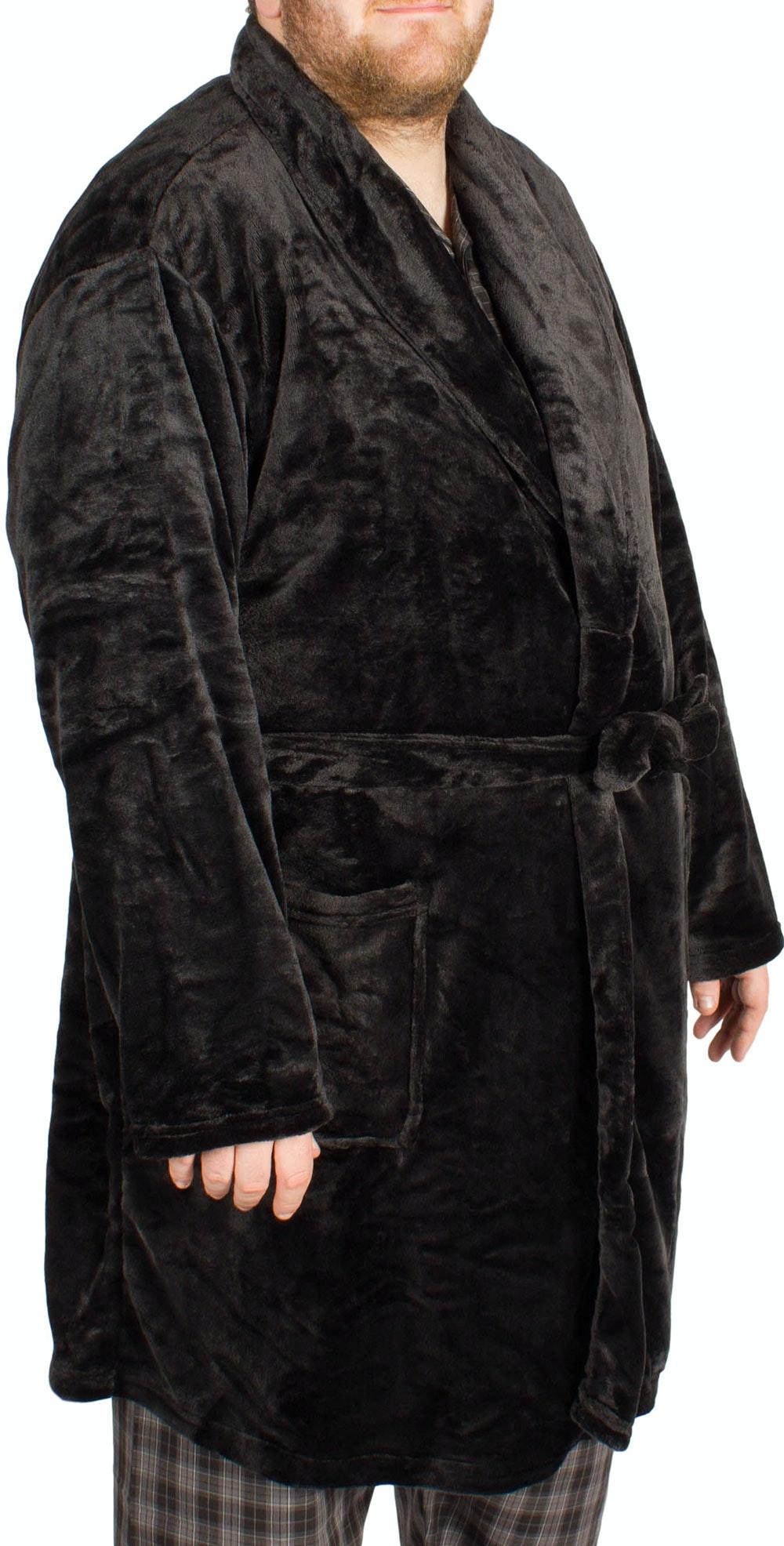 Pierre Roche Fleece Dressing Gown Black
