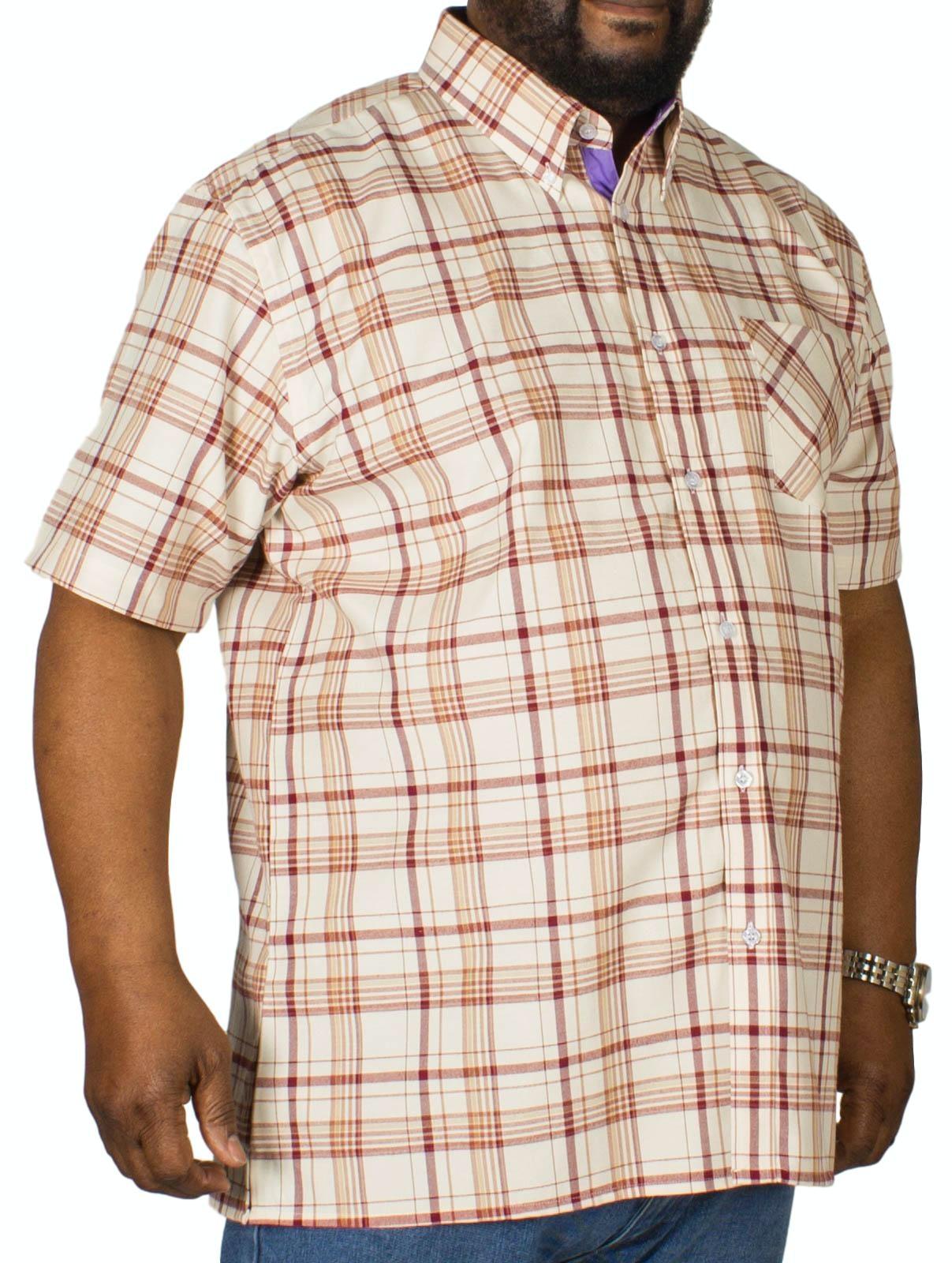 KAM Check Short Sleeved Shirt Burgundy