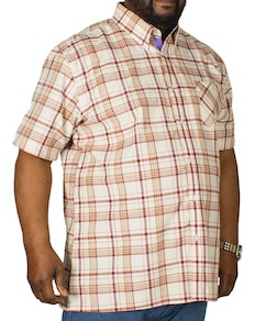 KAM Check Short Sleeved Shirt Burgundy