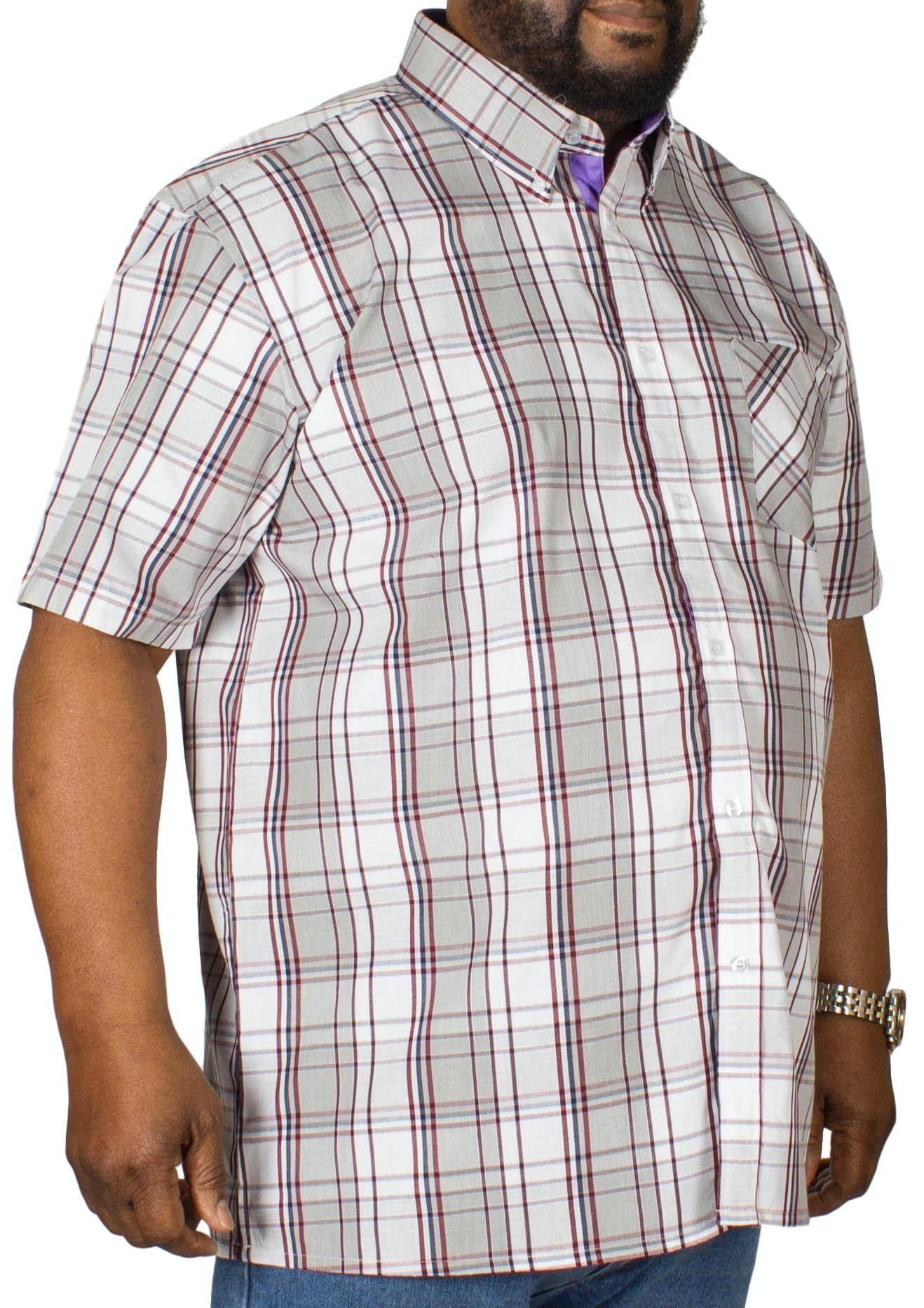 KAM Check Short Sleeved Shirt Charcoal