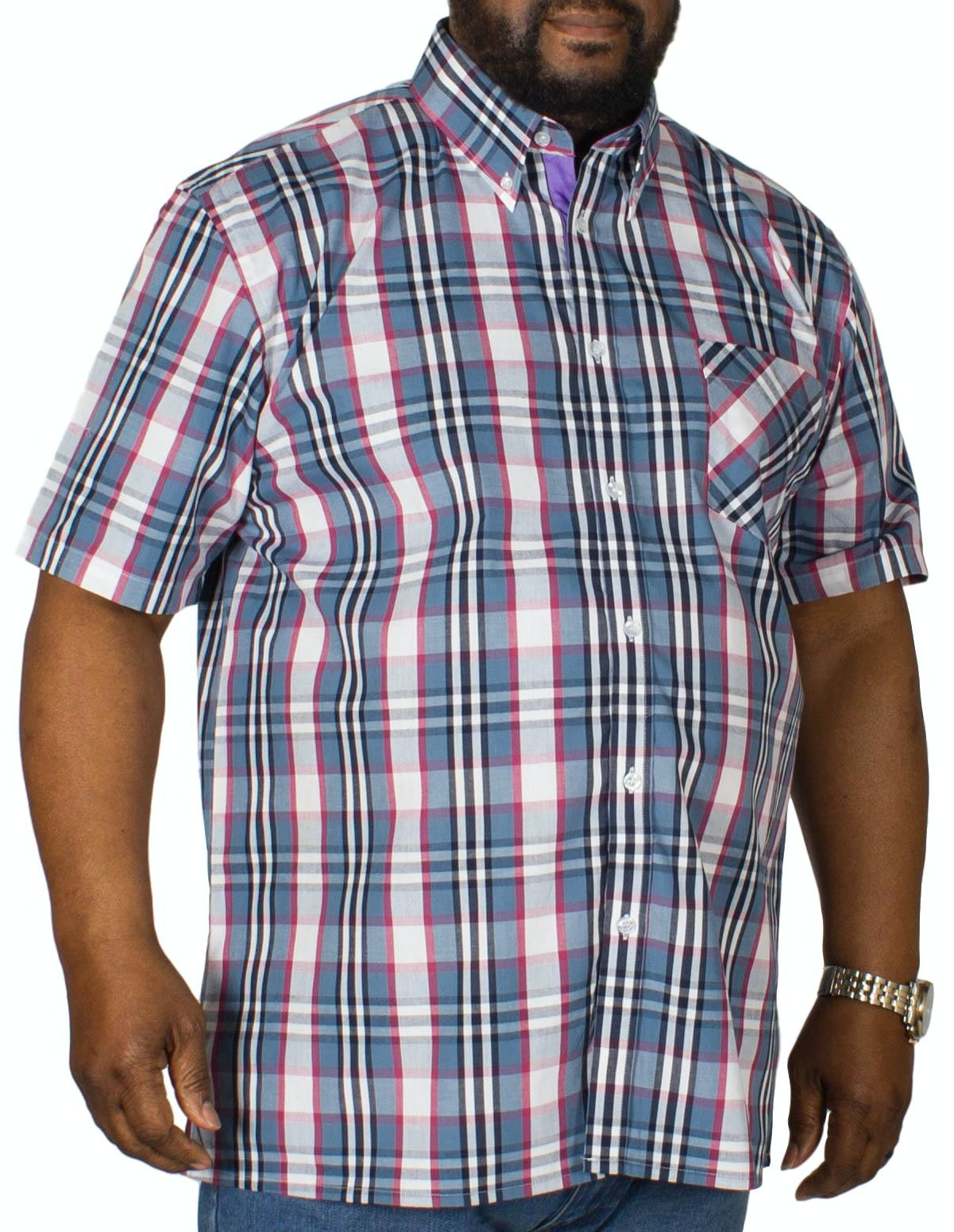 KAM Check Short Sleeved Shirt Demin