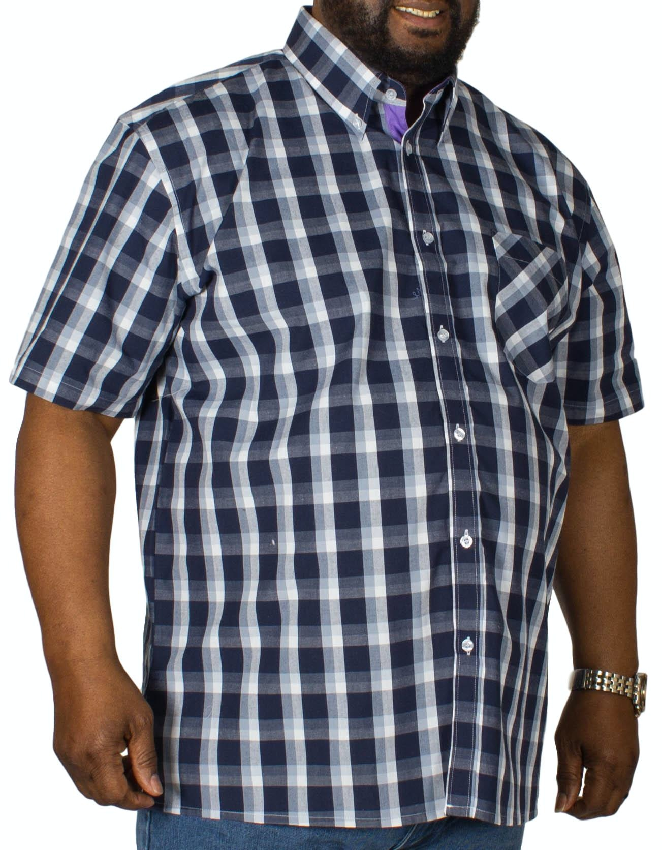 KAM Check Short Sleeved Shirt Navy