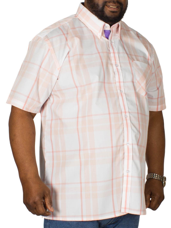 KAM Check Short Sleeved Shirt Apricot
