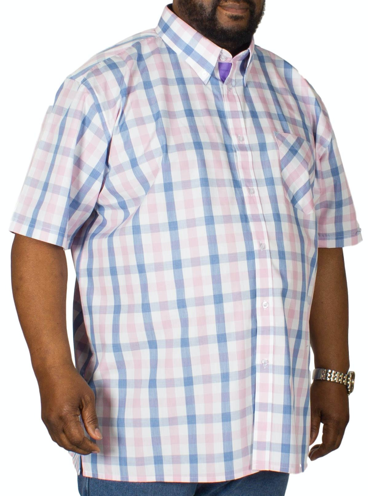 KAM Check Short Sleeved Shirt Blue/Pink
