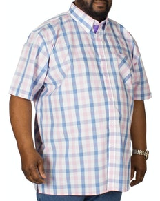 KAM Check Short Sleeved Shirt Blue/Pink