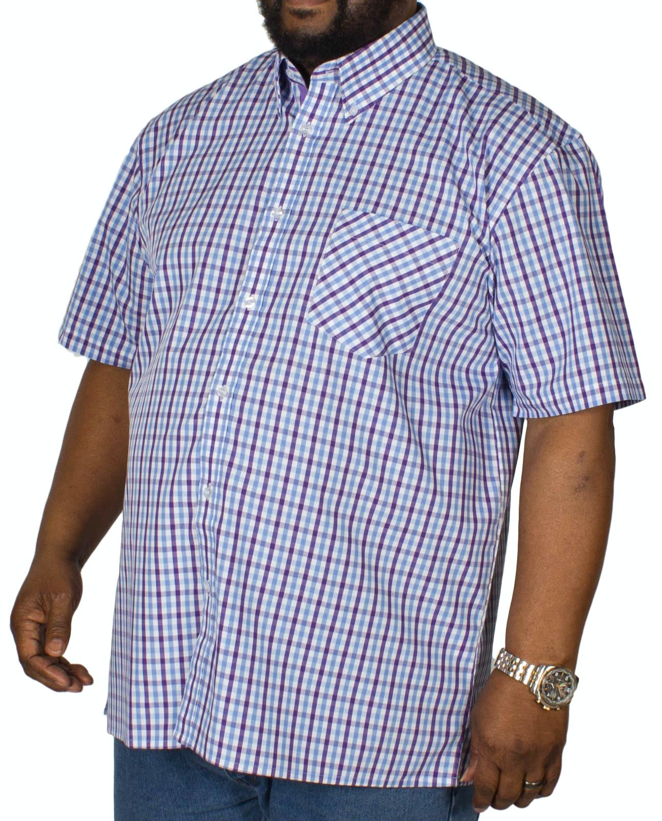 KAM Check Short Sleeved Shirt Purple/Blue