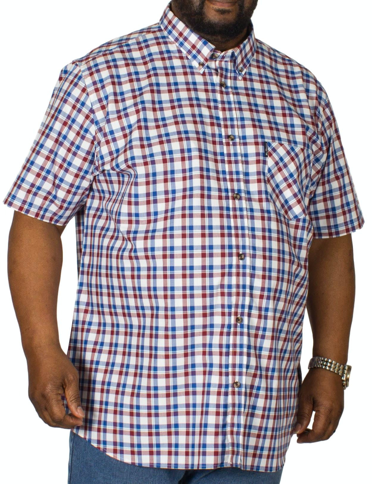 Ben Sherman Oxford Check Short Sleeve Shirt Wine