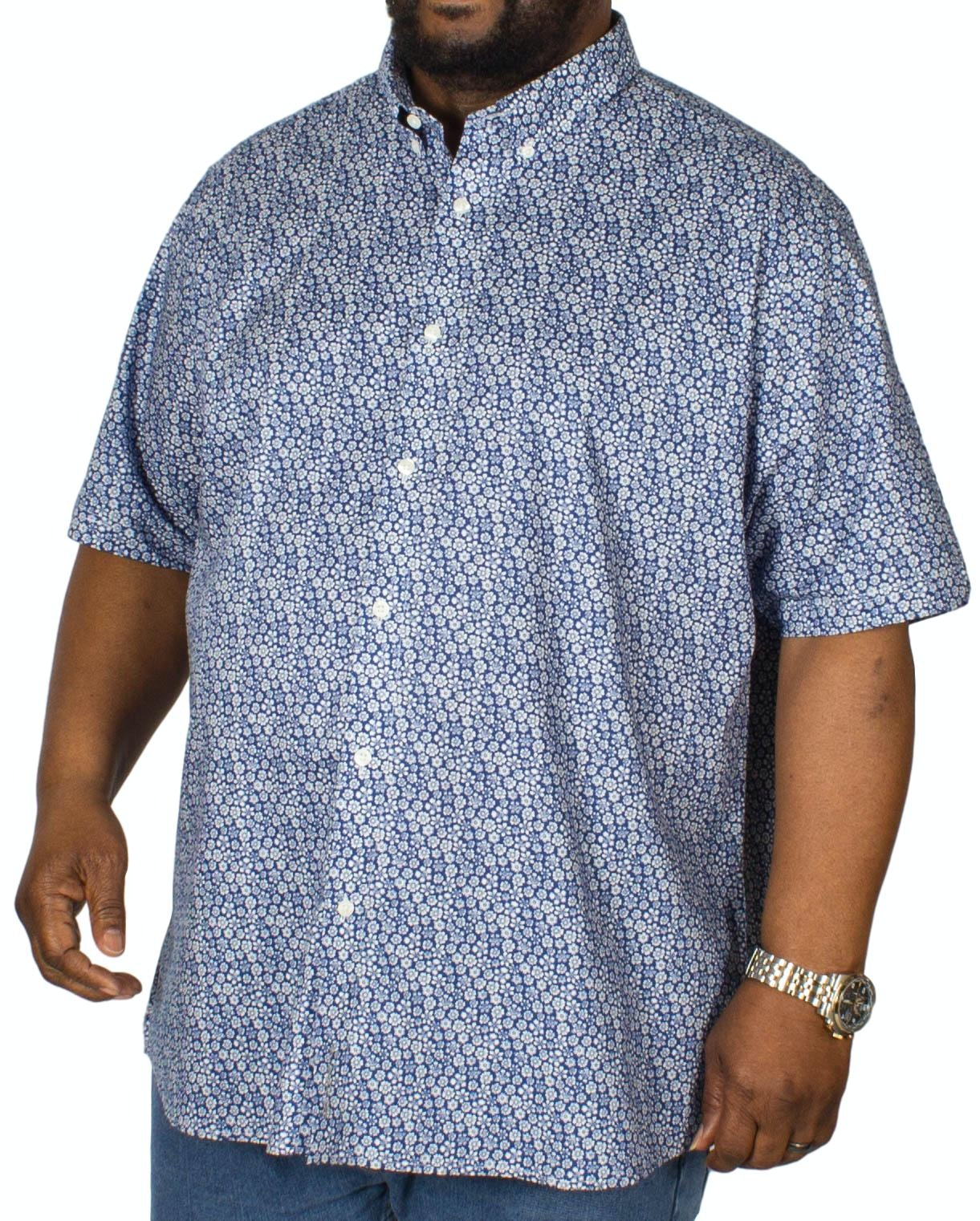 Ben Sherman Floral Print Short Sleeve Shirt Blue