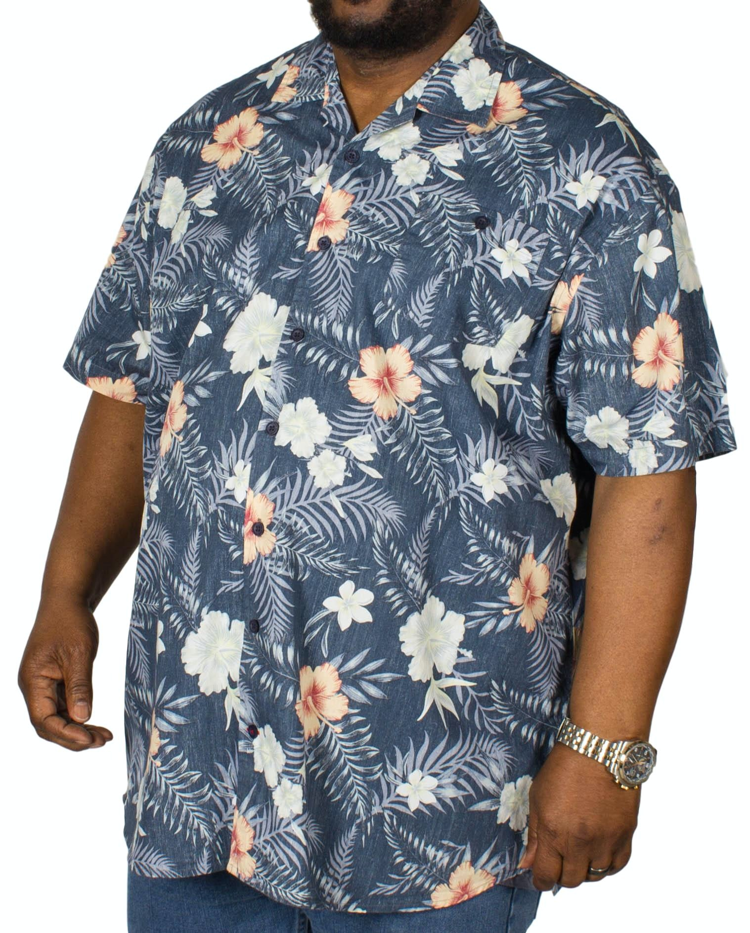 D555 Raymond Hawaiian Print Shirt Navy