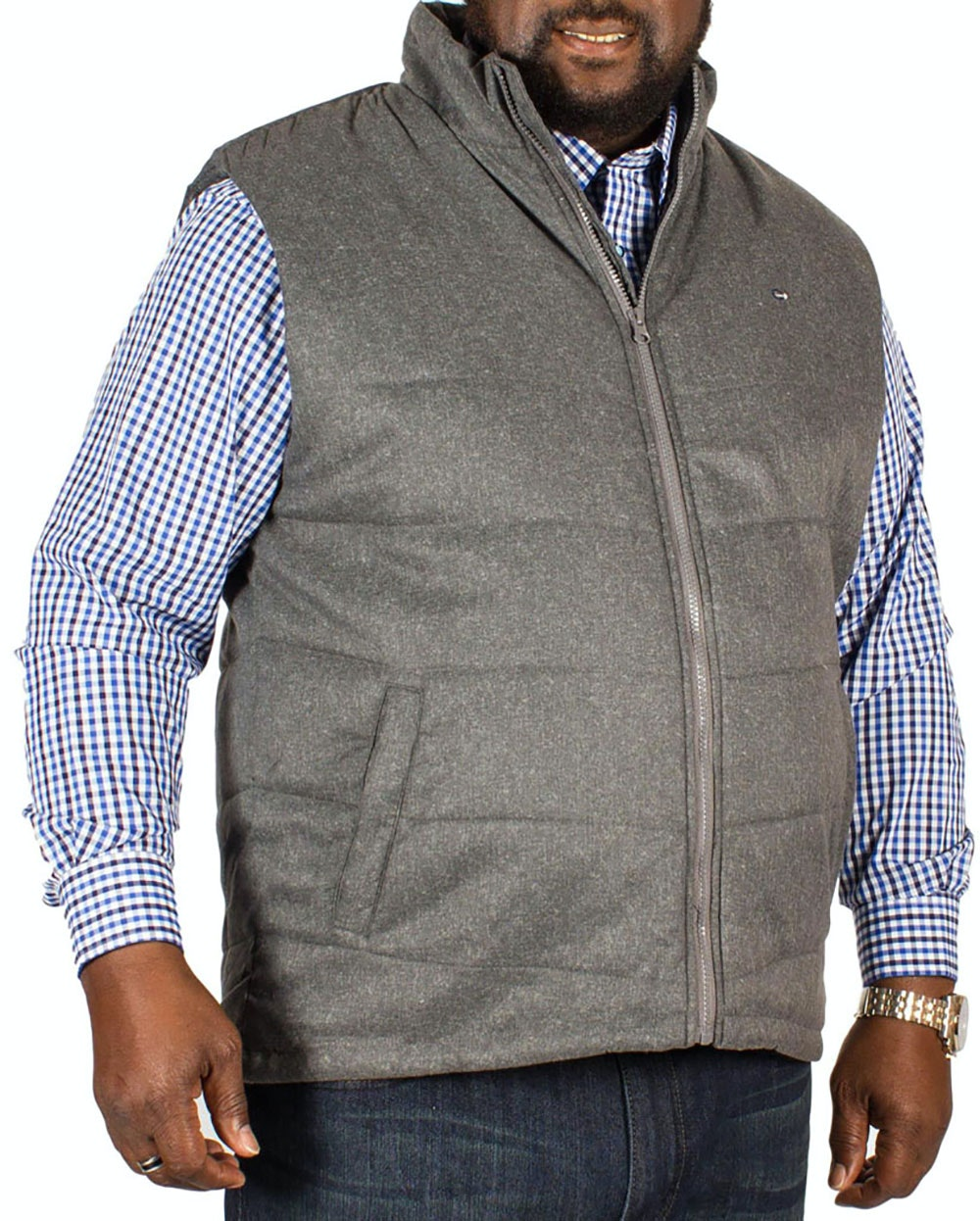 Peter Gribby Chevron Quilted Gilet Grey