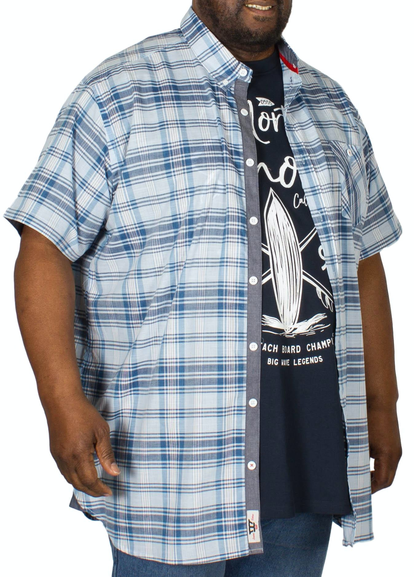 D555 Alban Short Sleeve Shirt & T-Shirt Combo Sky Blue