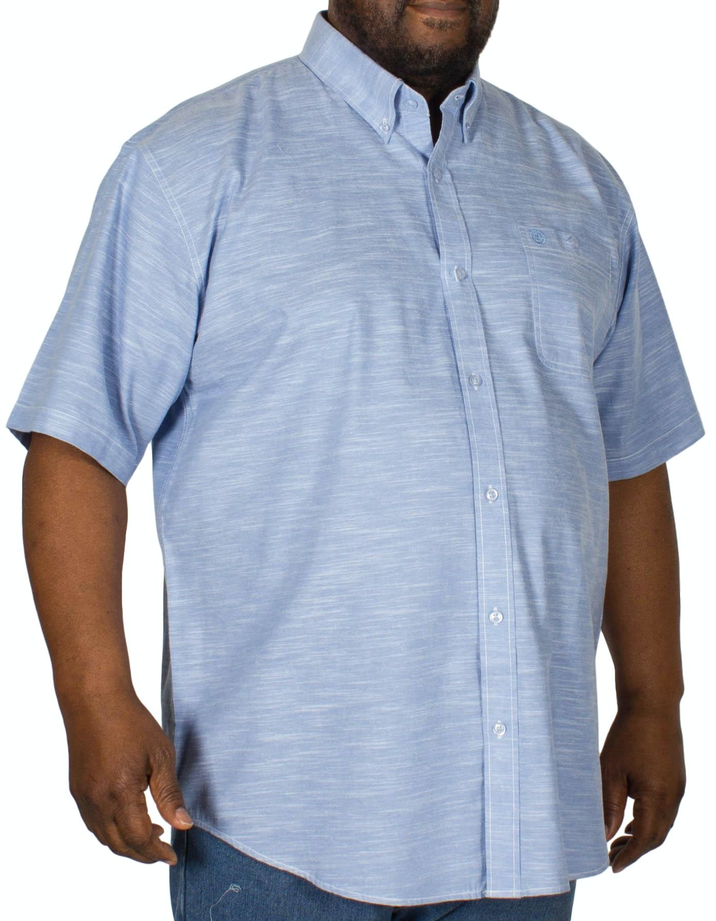 Espionage Linen Look Short Sleeve Shirt Blue
