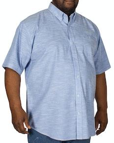 Espionage Linen Look Short Sleeve Shirt Blue