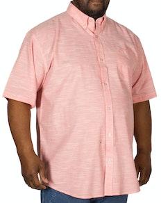 Espionage Linen Look Short Sleeve Shirt Salmon