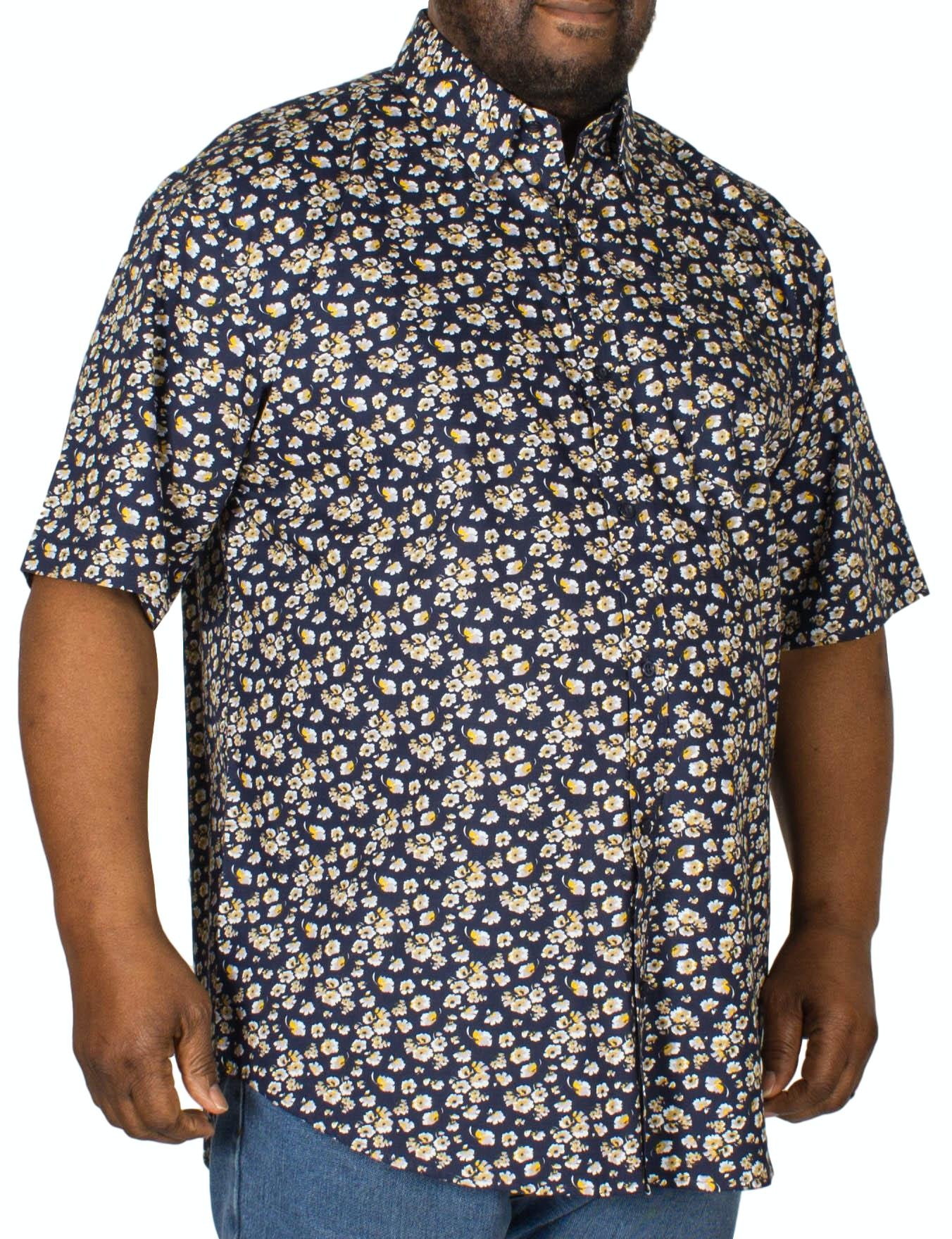 Espionage Floral Print Short Sleeve Shirt Navy