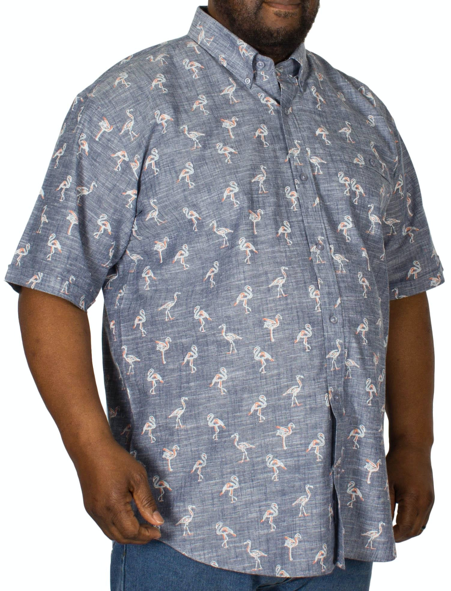 Espionage Flamingo Print Short Sleeve Shirt Navy