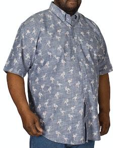 Espionage Flamingo Print Short Sleeve Shirt Navy