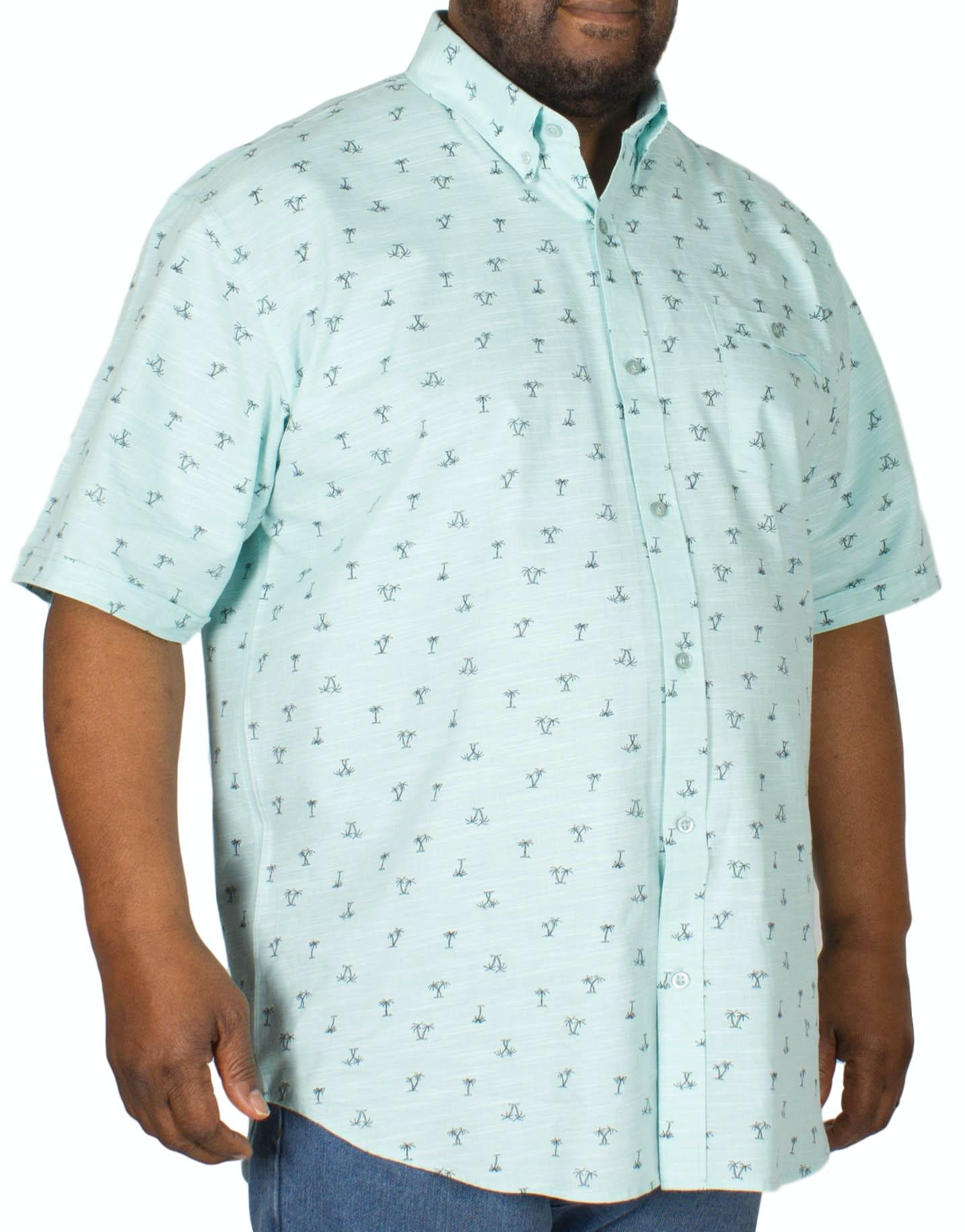 Espionage Palm Print Short Sleeve Shirt Mint