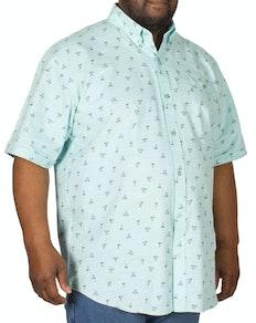 Espionage Palm Print Short Sleeve Shirt Mint