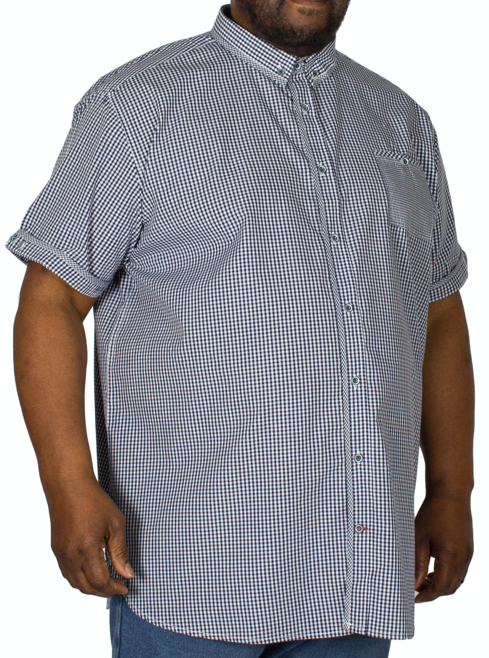 D555 Hank Gingham Check Shirt Navy/White