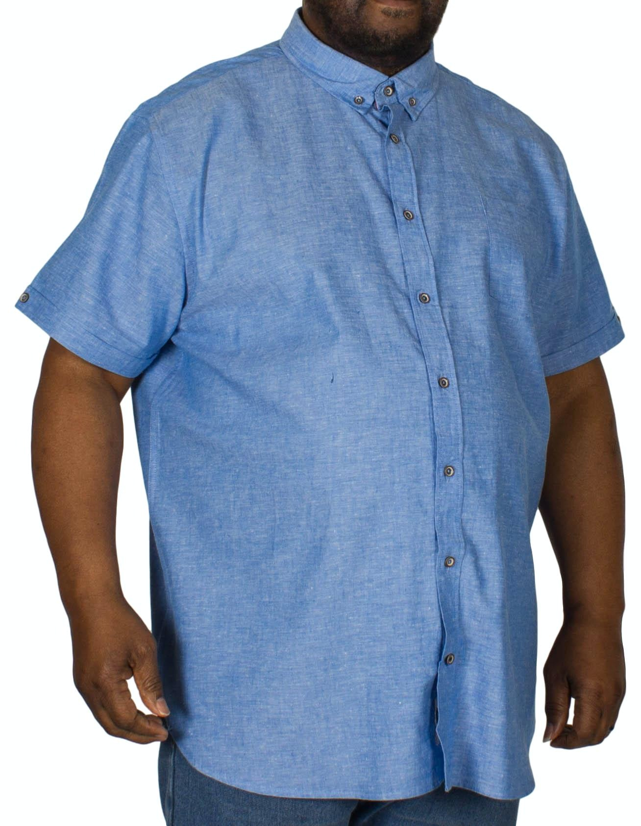 D555 Eric Linen Cotton Short Sleeve Shirt Blue