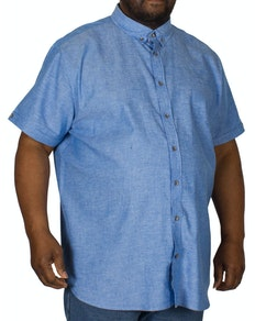 D555 Eric Linen Cotton Short Sleeve Shirt Blue