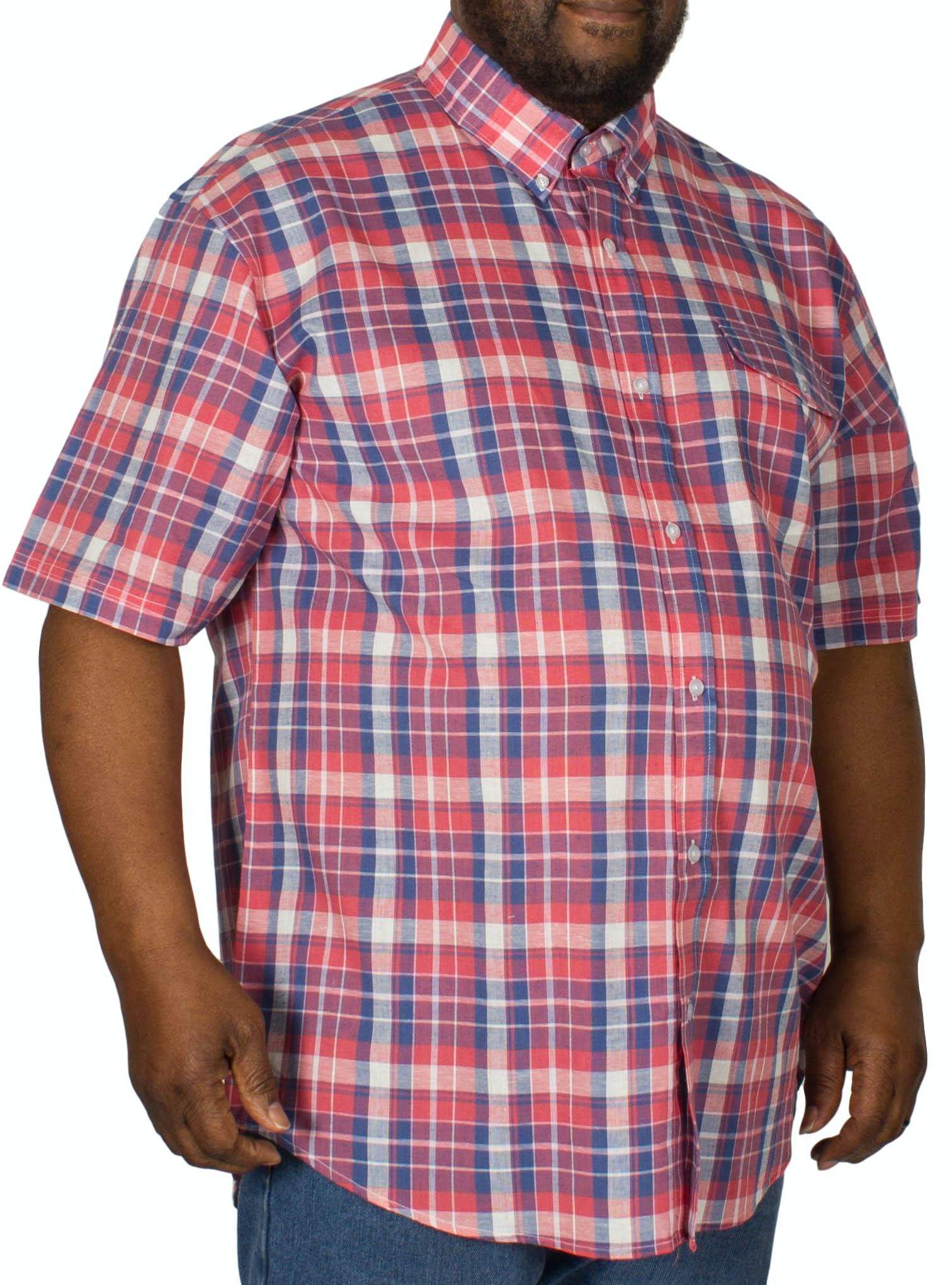 Espionage Check Short Sleeve Shirt Coral/Blue