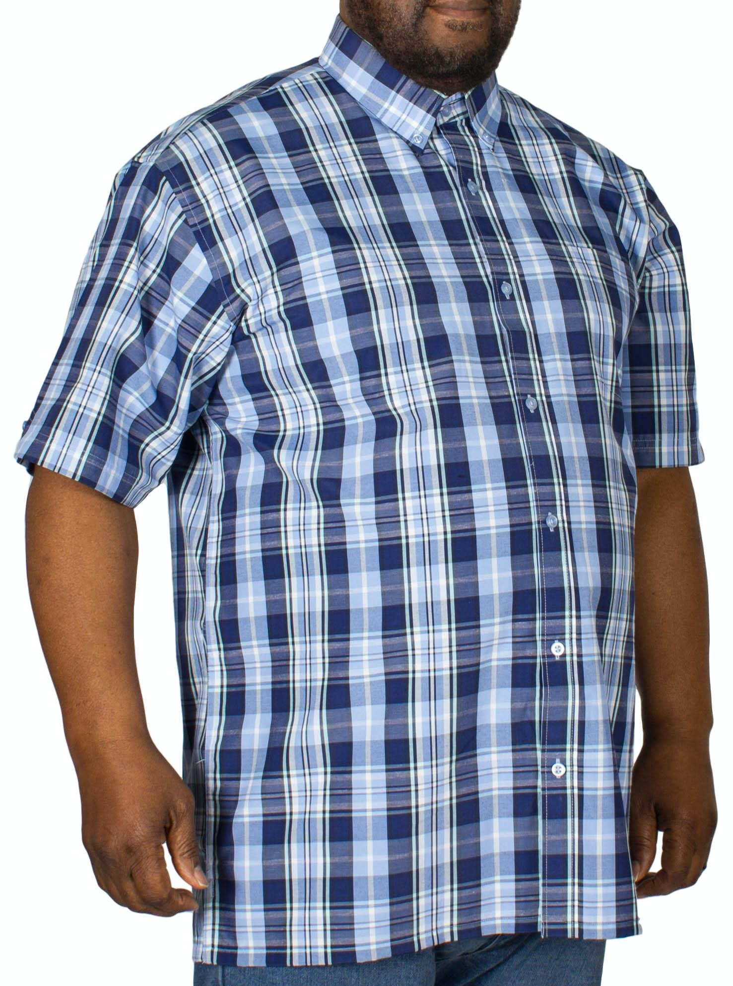 Espionage Check Short Sleeve Shirt Navy/White