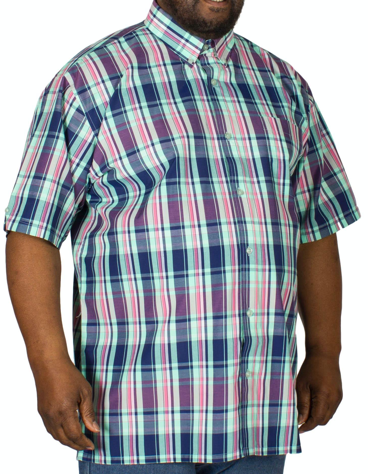 Espionage Check Short Sleeve Shirt Navy/Mint/Pink